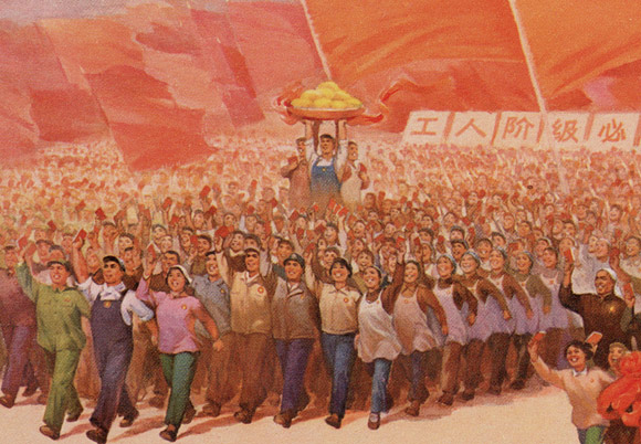 In Chinese propaganda posters the artist often use the same face for everyone ... examine this image. This is classic worker team building ... Notice the tray of mangoes.
