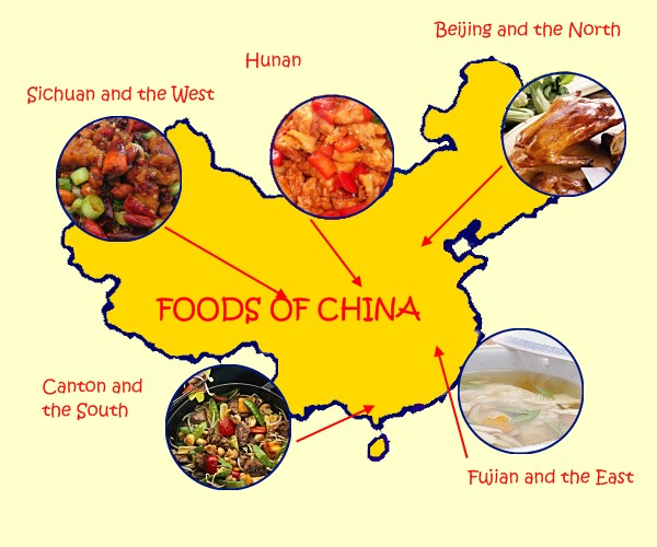A simplified map of regional cuisines