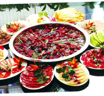 Szechuan Hot Pot  ... note all the floating chilies